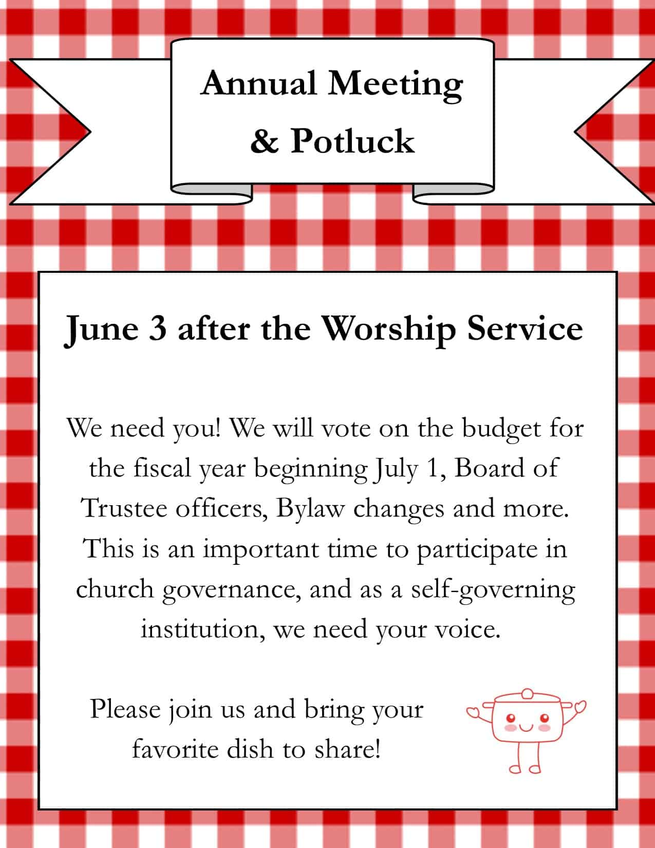 Annual Meeting and Potluck Flyer