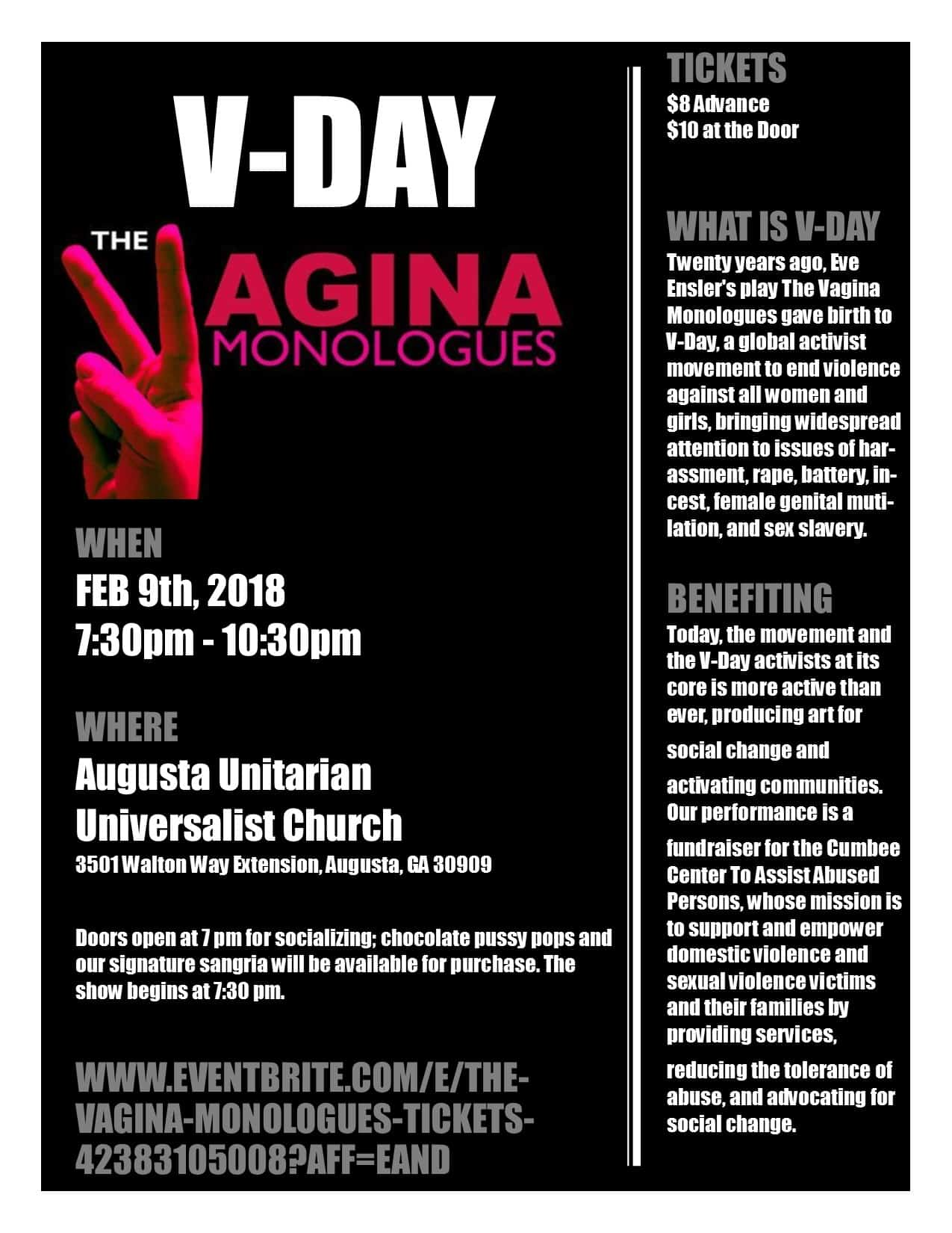 V-Day Poster - The Vagina Monologues event at Augusta UU