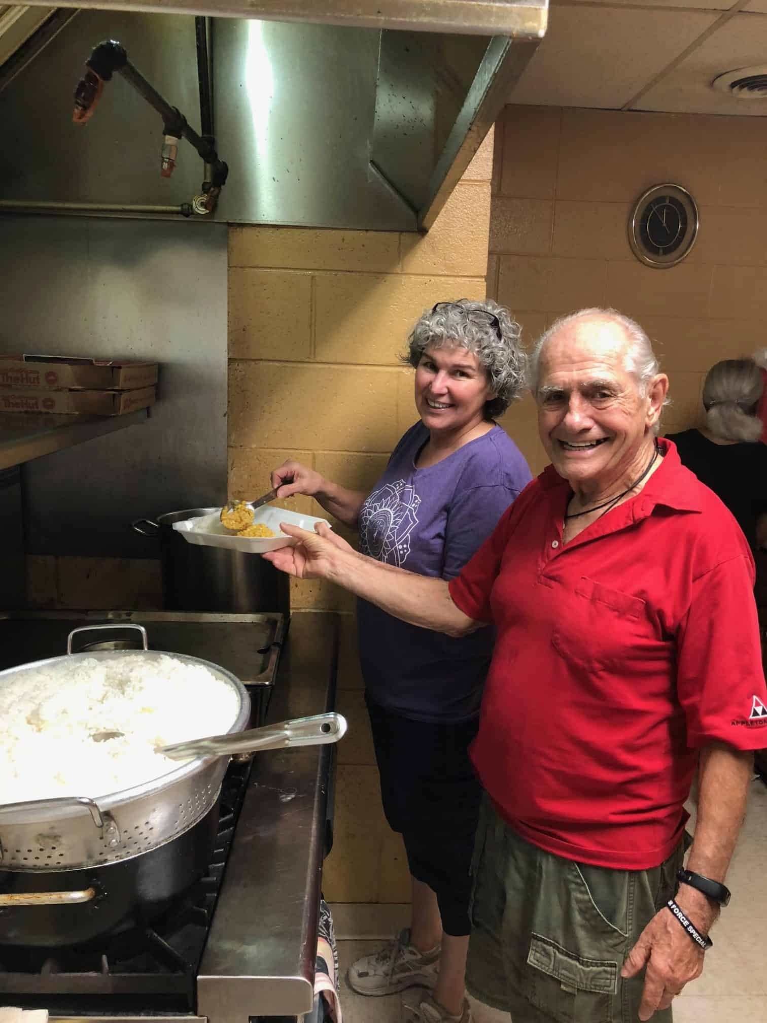 Kathy Hall and Don Horne faithfully serve at the Salvation Army Soup Kitchen on Tuesdays